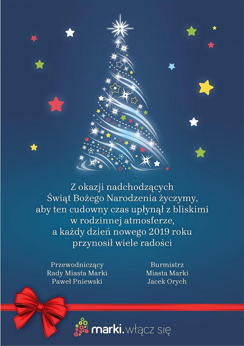 życzenia Na święta Bożego Narodzenia I Nowy Rok Miasto Marki