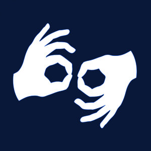 Piktogram oznaczający usługę tłumacza języka migowego, dwie dłonie w geście migania.